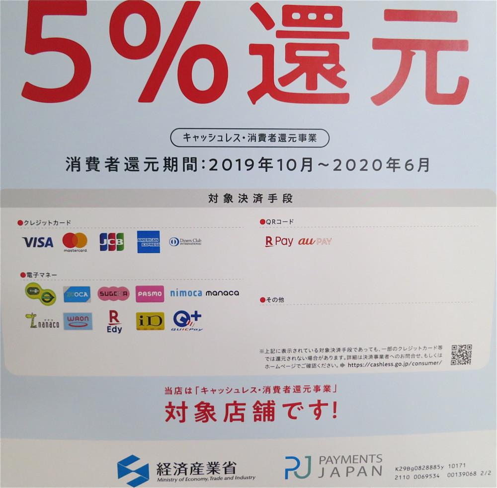 PayPayQRコード決済も可能(PayPayのみ経済産業省による5%還元に関しては申請中です)